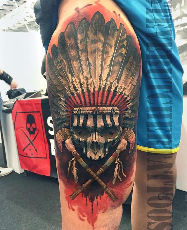 d42e3ebf29315 Native American Skull Tattoo On Leg By Steve Butcher