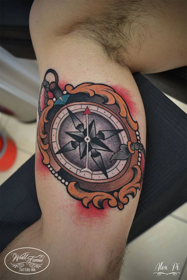 Nautical Compass Tattoo On Bicep