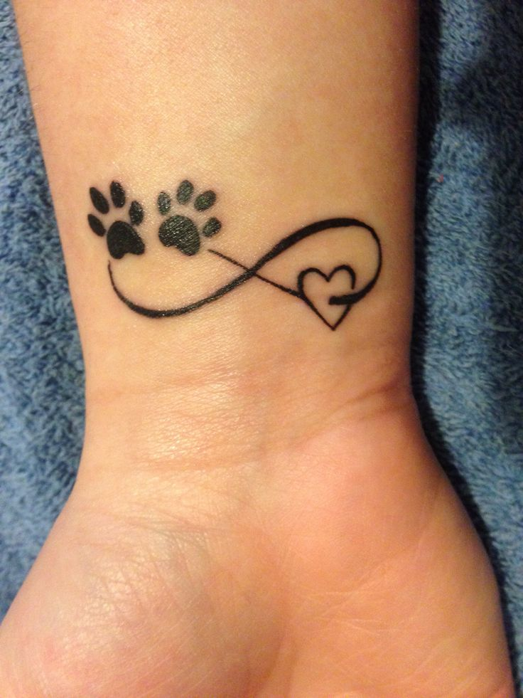 paw prints and infinity symbol tattoo on wrist. Black Bedroom Furniture Sets. Home Design Ideas
