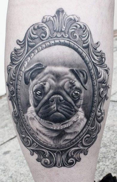 Pug dog framed portrait tattoo