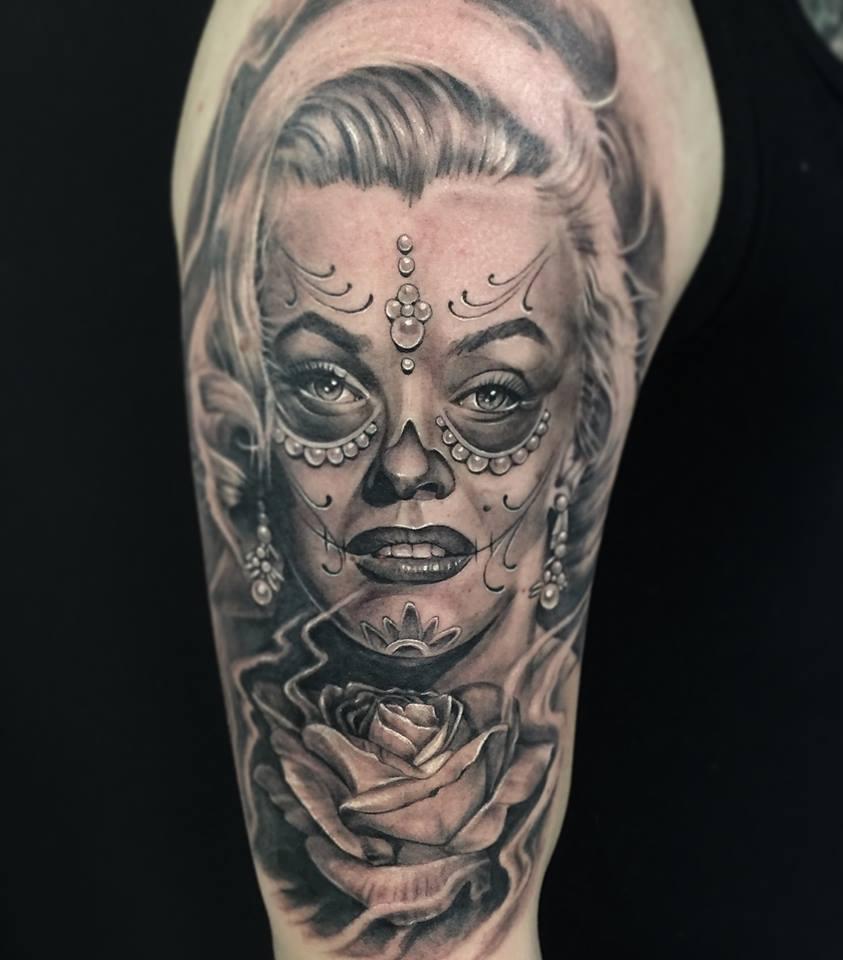 Realistic dia de los muertos tattoo on right sleeve for Dia de muertos tattoos