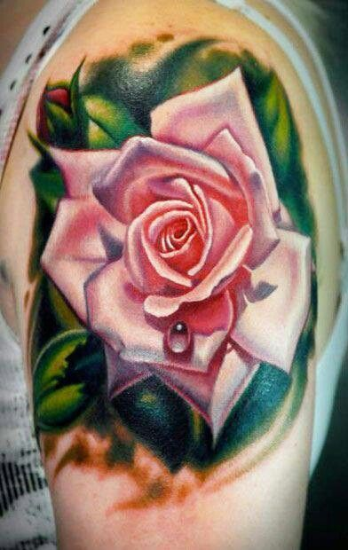 realistic pink rose dew drop tattoo. Black Bedroom Furniture Sets. Home Design Ideas
