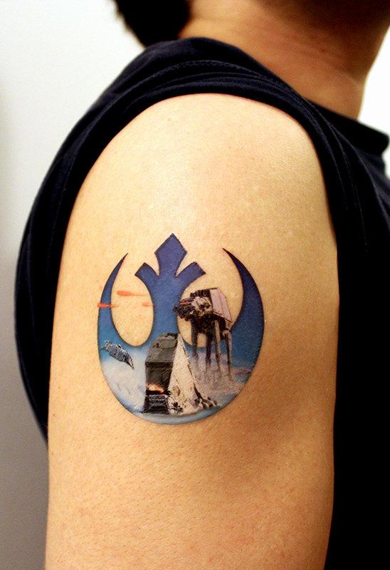 Rebel alliance star wars tattoo on shoulder for Rebel tattoo designs