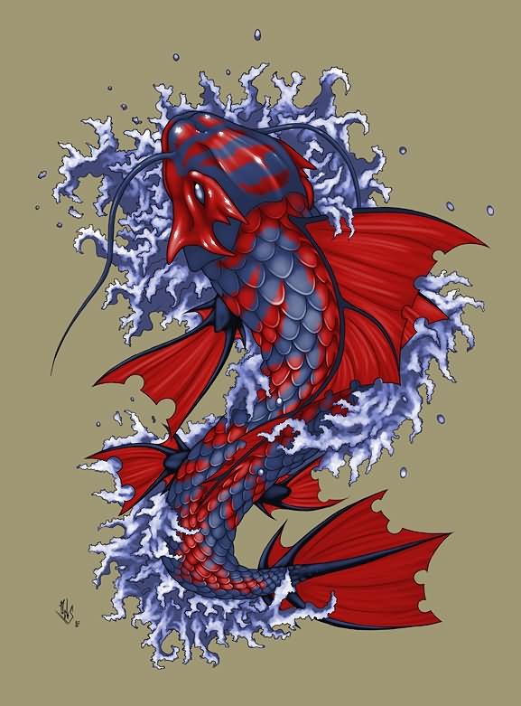 30 koi fish tattoo designs with meanings for Carpe koi bleu