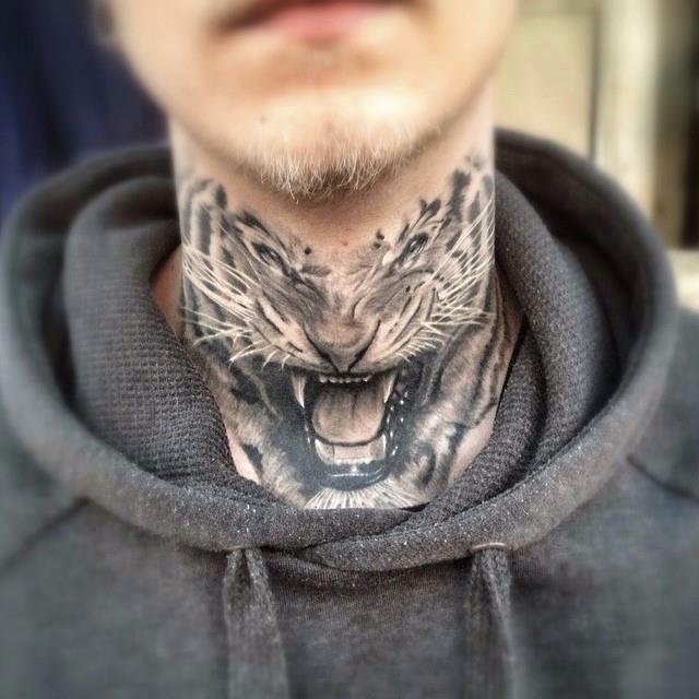 3 amazing tiger neck tattoos. Black Bedroom Furniture Sets. Home Design Ideas