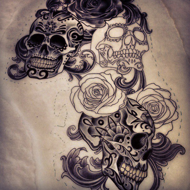 5 sugar skull tattoo design ideas. Black Bedroom Furniture Sets. Home Design Ideas