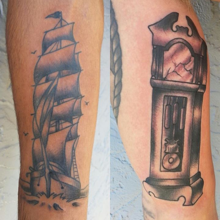 ship tattoo and grandfather clock tattoo by think ink tattoos