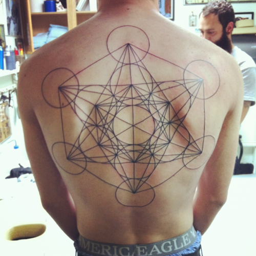 b63466fa5 Metatrons cube tattoo on shoulder done negative by Amy