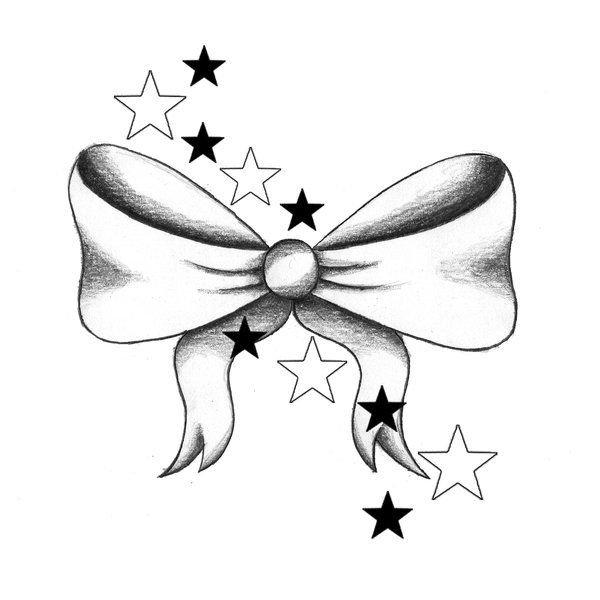 Stars And Bow Tattoo Design by Anchica