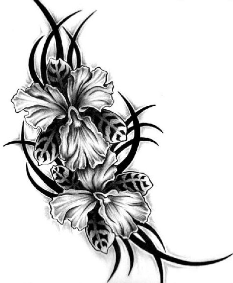 Tribal And Flowers Tattoo Design
