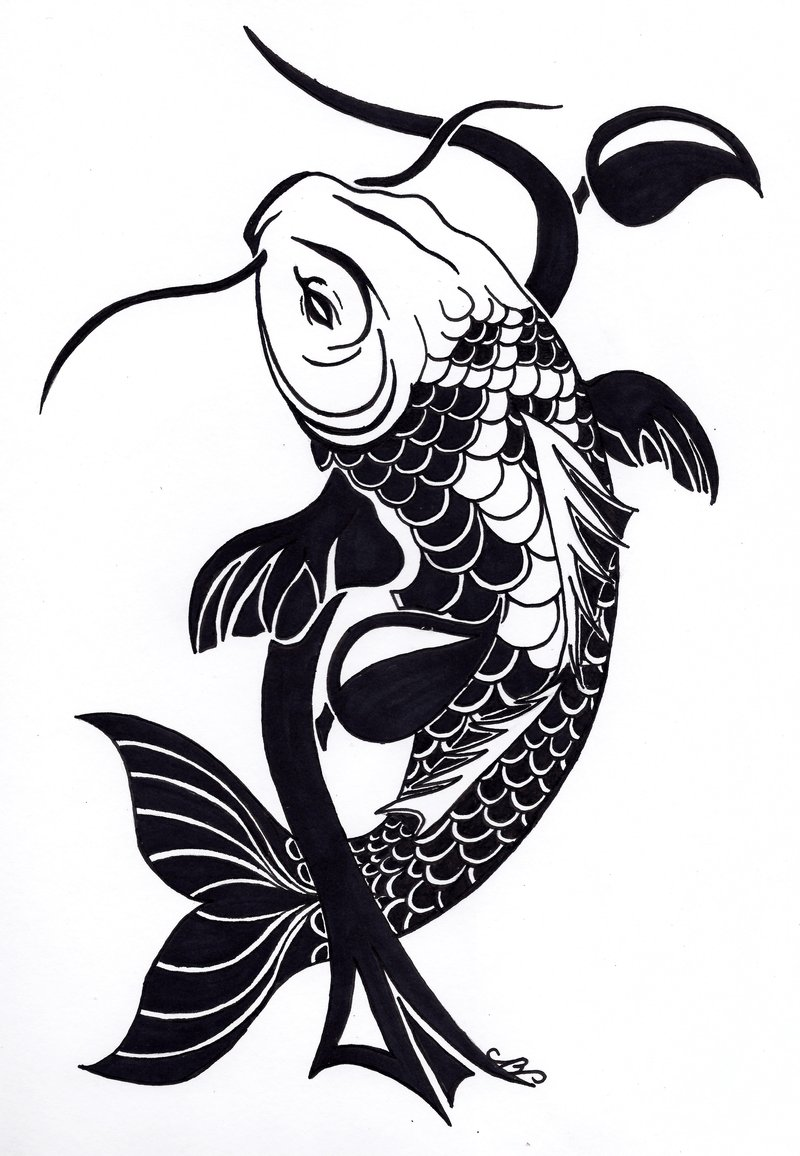 Tattoo design picture - Tribal Koi Fish Tattoo Design By Nikolai Bartolf