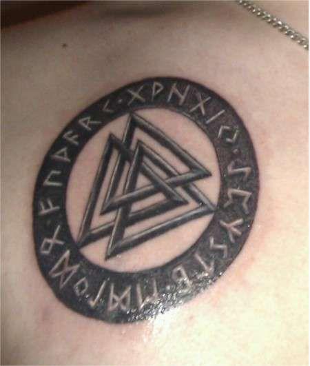 Valknut Norse Symbol Tattoo On Collarbone