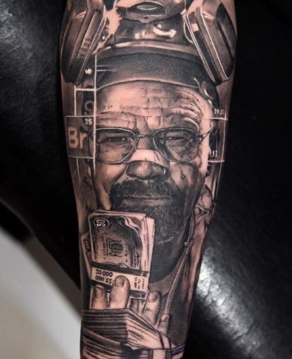 Walter White With Money Tattoo Design by Miguel Angel Bohigues
