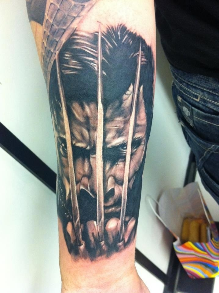 Black and grey wolverine tattoo on leg for Black claw tattoo