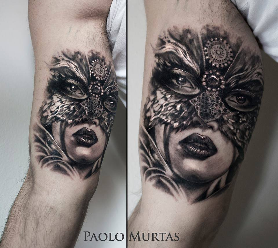 Beautiful Masked Lady Tattoo On Bicep