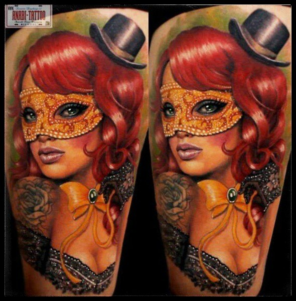Bow Masquerades Masked Girl Tattoo On Thigh
