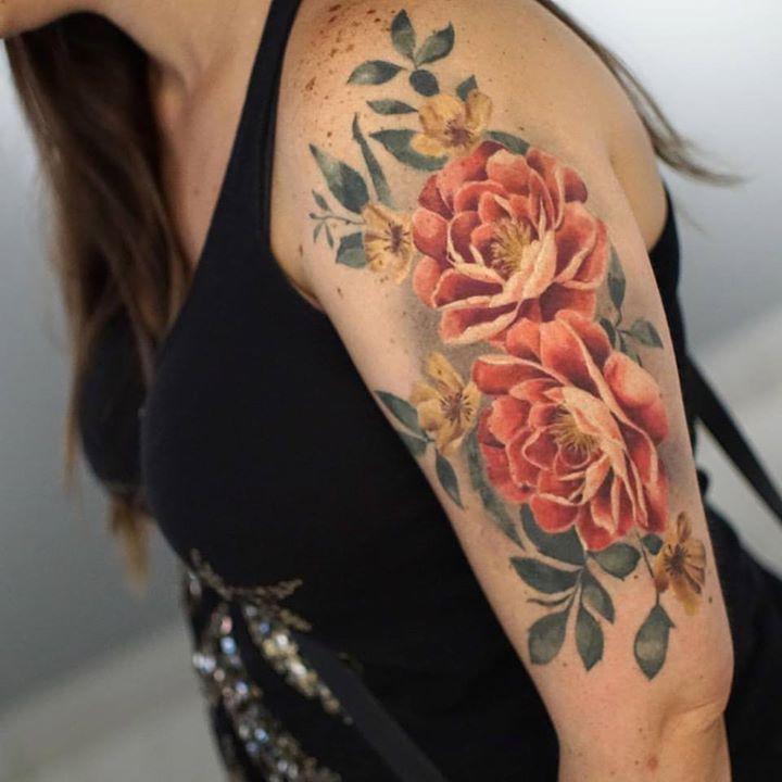 Colorful Flowers Tattoo On Half Sleeve