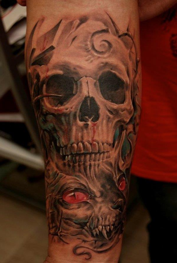 10 wonderful skull tattoos on forearm for Pictures of skull tattoos