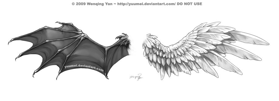 devil and angel wings tattoo design by yuumei. Black Bedroom Furniture Sets. Home Design Ideas