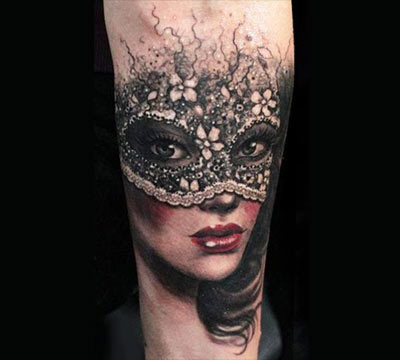 8 amazing masked girl tattoos for Face mask tattoo