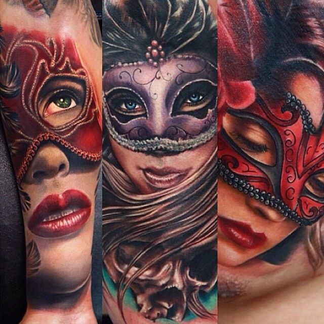 Realistic Masquerade Masks Worn By Women Tattoos