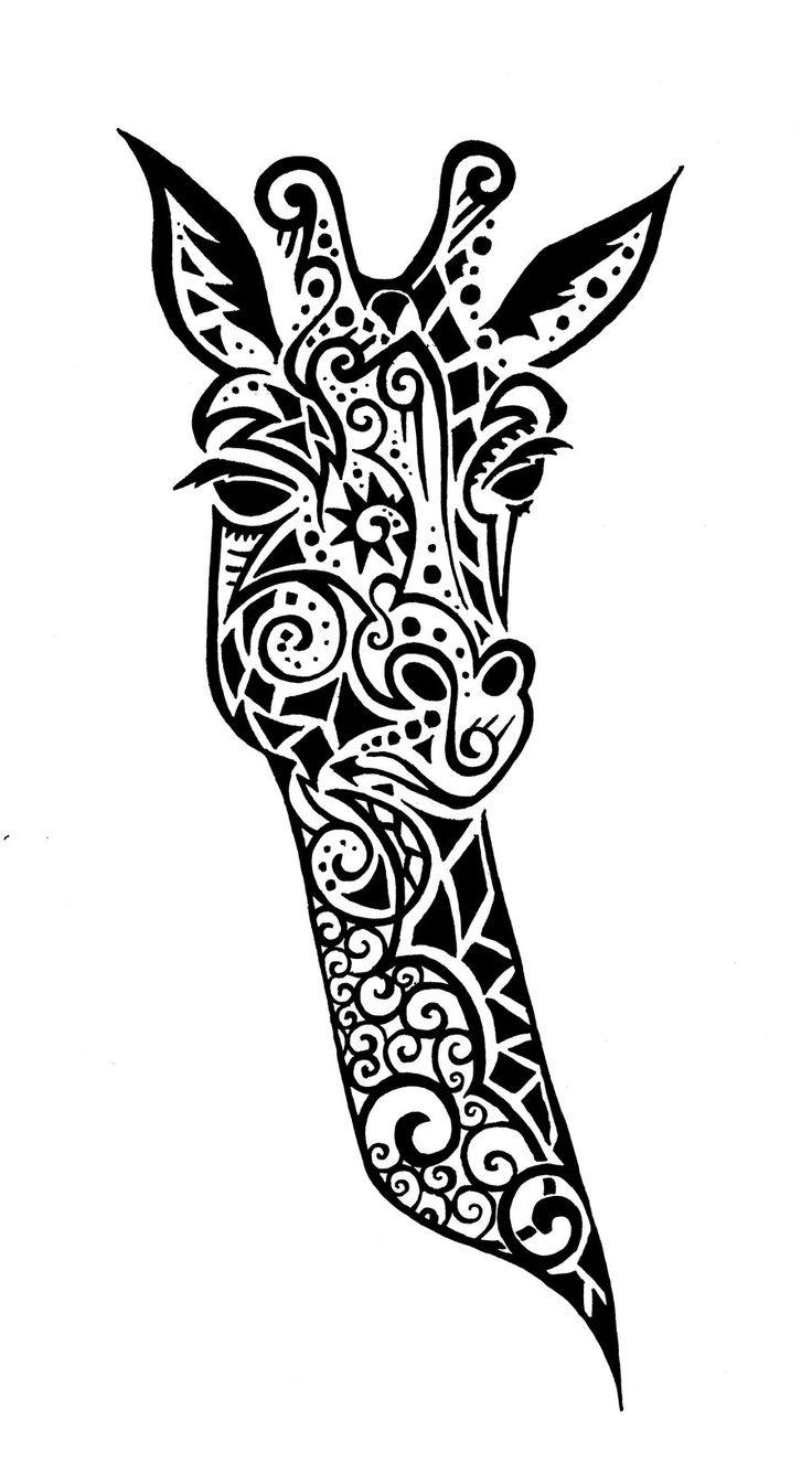 Exceptional Tribal Giraffe Tattoo Design By Wolfds