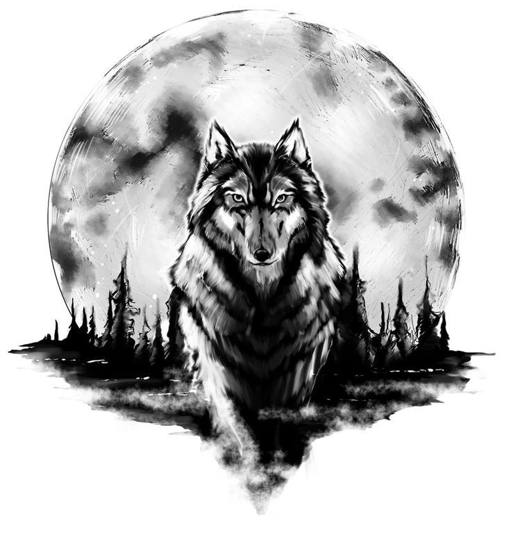 Tattoo Designs Background: Wolf With Full Moon Background Tattoo Design