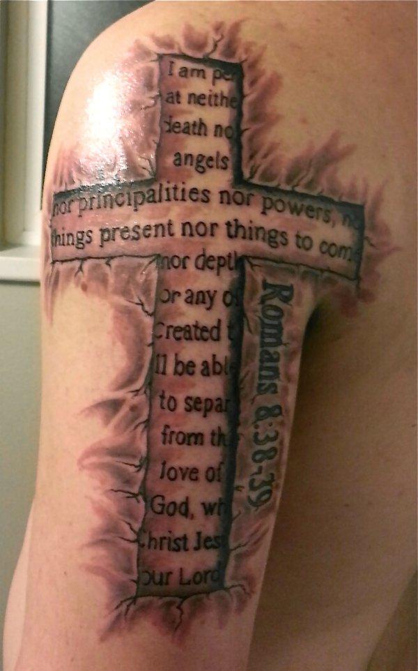 3D Black Cross With Message Tattoo On Half Sleeve By Mwlogataki