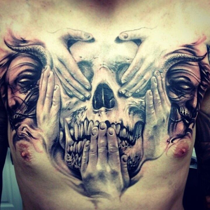 3D Skull Hiding Face Tattoo On Chest By Carl Grace