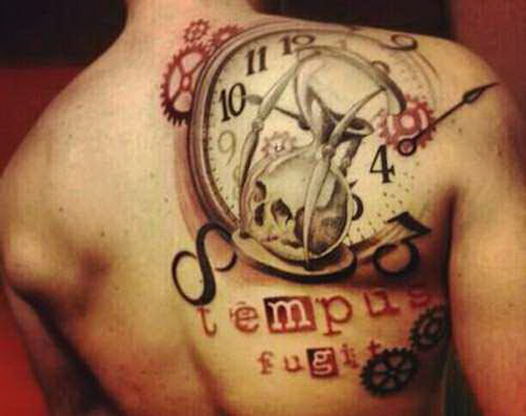 Amazing Colorful Hourglass In Clock Tattoo On Man Right Back Shoulder