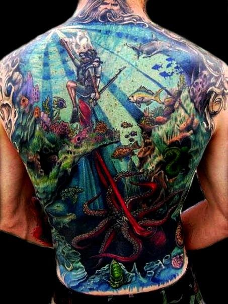 Amazing Colorful Underwater Ocean View Tattoo On Man Back