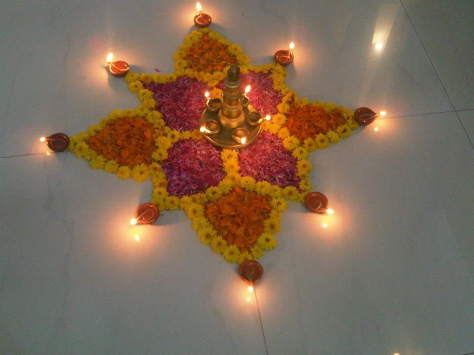 10 Most Beautiful Diwali Rangoli Designs With Flowers