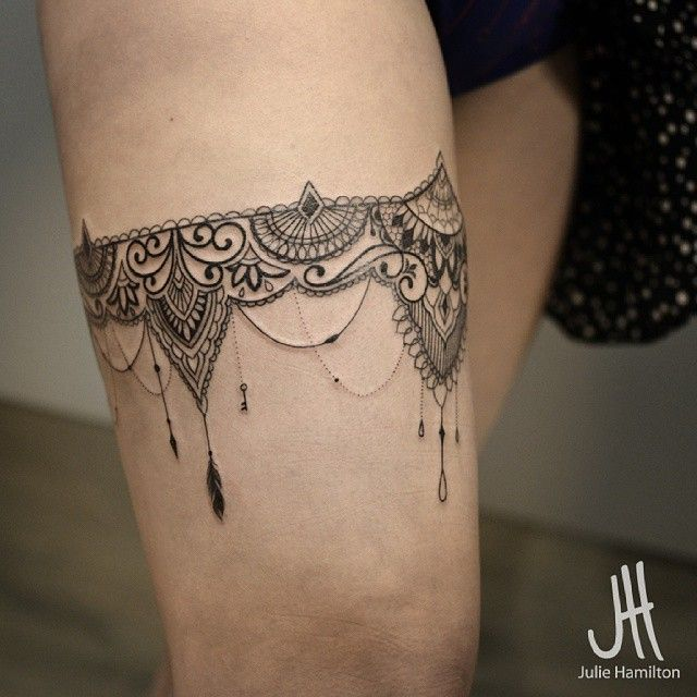 Lace garter tattoo on leg for Garter tattoo templates
