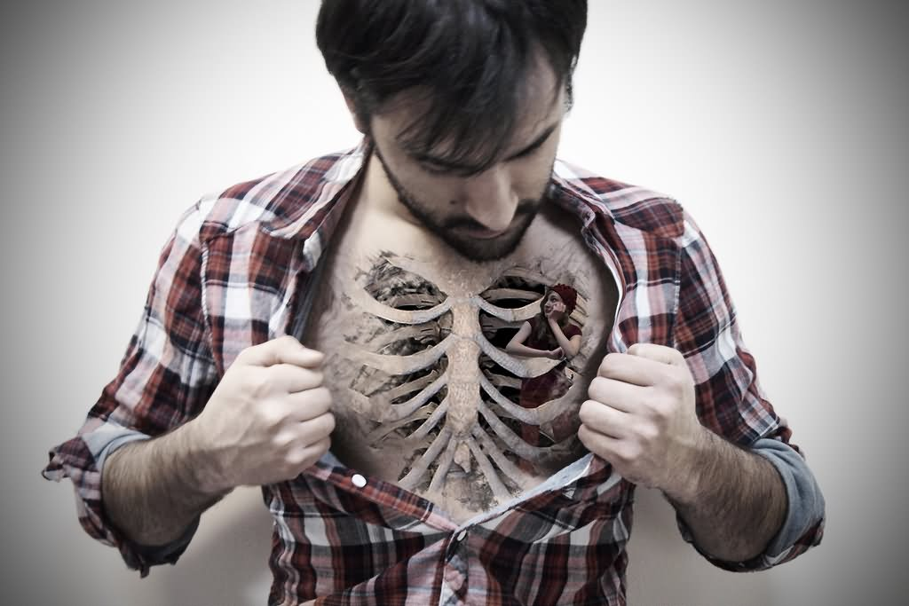 Black And Grey 3D Rib Cage Tattoo On Man Chest