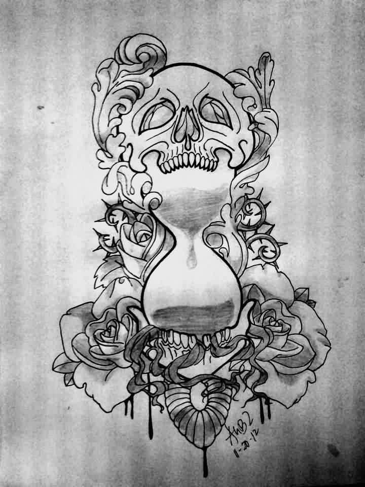 Black And Grey Tattoo Stencil: 12 Cool Hourglass Tattoo Design Ideas