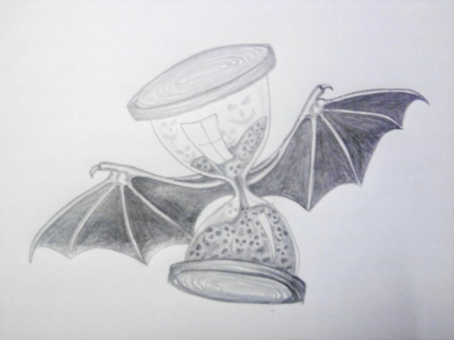 Black And Grey Flying Hourglass With Bat Wings Tattoo Design By