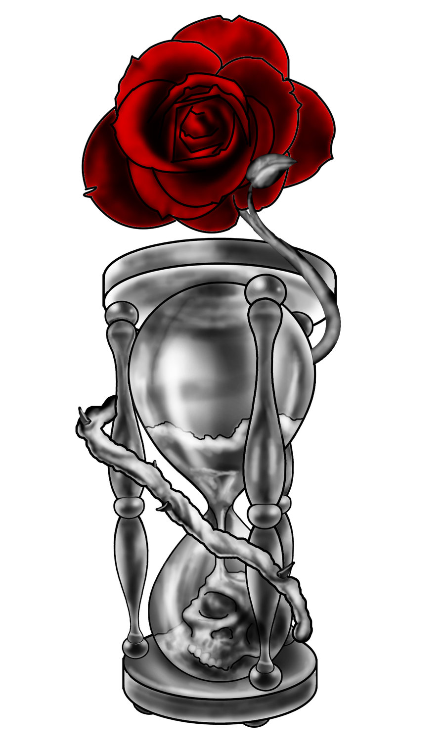 Roses Hour Glasses Tattoo: Black And Grey 3D Hourglass Tattoo On Forearm By Remistattoo