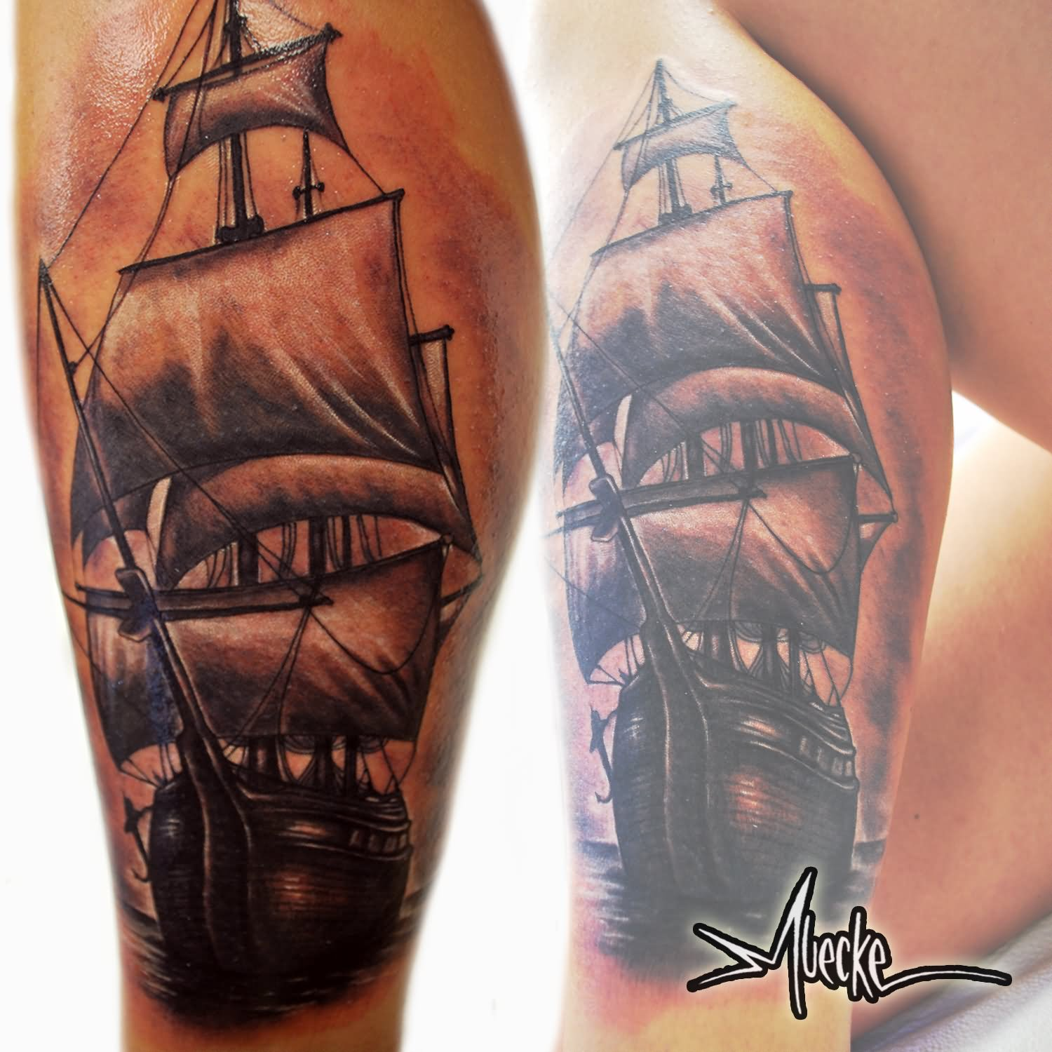 Black And Grey Ship In Ocean Tattoo On Leg Calf