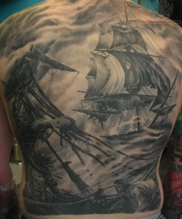 Black And Grey Ships In Ocean Storm Tattoo On Full Back