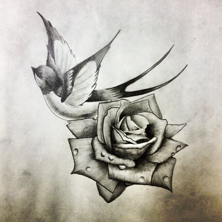 black and grey swallow with rose tattoo design by dazzbishop. Black Bedroom Furniture Sets. Home Design Ideas