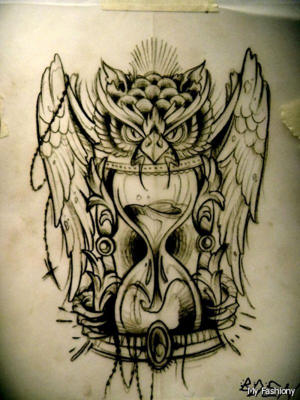 Hourglass Skulls Drawing