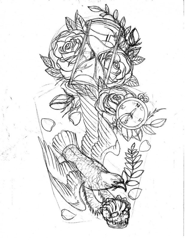 Roses Hour Glasses Tattoo: 12 Cool Hourglass Tattoo Design Ideas