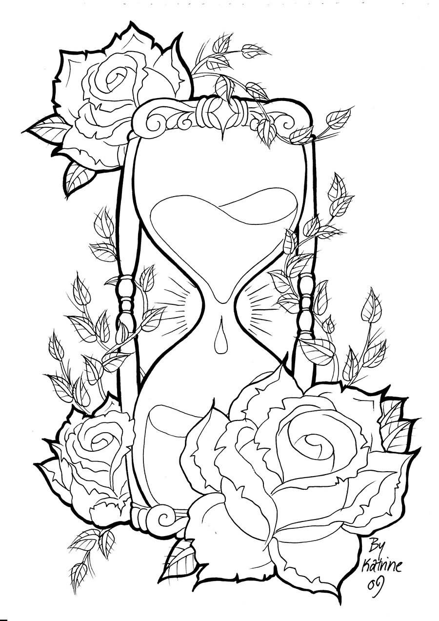 Line Art Rose Tattoo : Black hourglass with roses tattoo stencil by koyasan