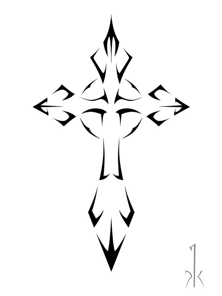 Tribal-Tattoos Black-Tribal-Cross-Tattoo-Design-By-Krullfilth