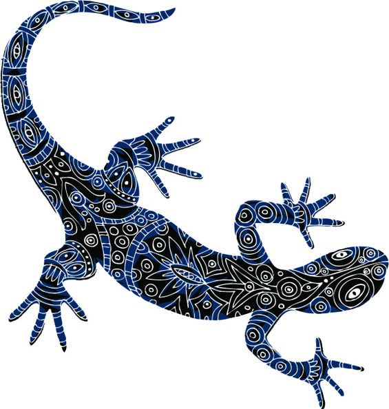 73266ab3ae21c Black and Blue Lizard Tattoo Design