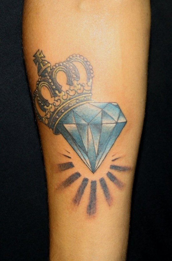 Blue Diamond And Crown Tattoo On Forearm
