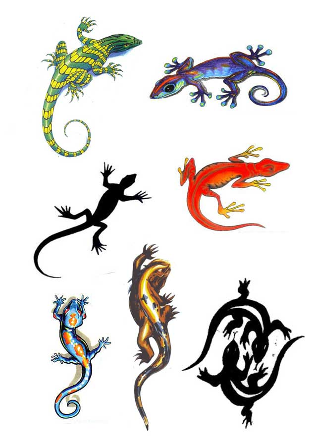 22 wonderful lizard tattoo designs. Black Bedroom Furniture Sets. Home Design Ideas
