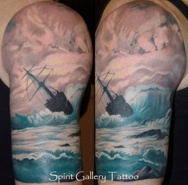 Colorful Ship In Ocean Storm Tattoo On Half Sleeve