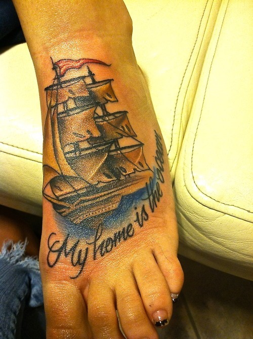 Colorful Ship On Ocean Tattoo On Foot