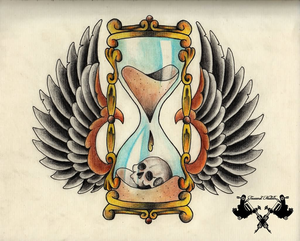 Pocket Watch With Three Roses Tattoo Design By Tausend Nadeln